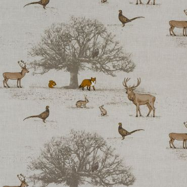 Beige Natural Woodland Animals 100% Cotton Curtain Upholstery Fabric