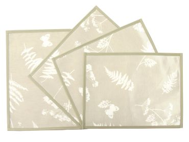 Taupe Moorland Oilcloth Wipe Clean Set of 4/6 or 8 Placemats