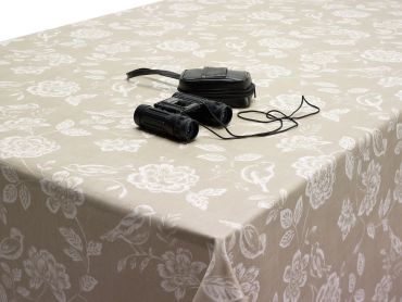 Taupe Bird Garden Floral Matte Oilcloth Wipe Clean Tablecloth