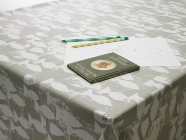 Taupe Fish Oilcloth Tablecloth
