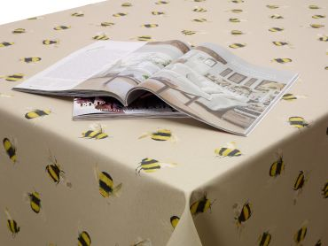 Taupe Honey Bees Wipe Clean Tablecloth
