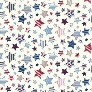 Red and White Stripe Cotton Fabric