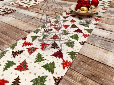 Cream Red Green Christmas Trees Christmas Cotton Fabric Table Runner