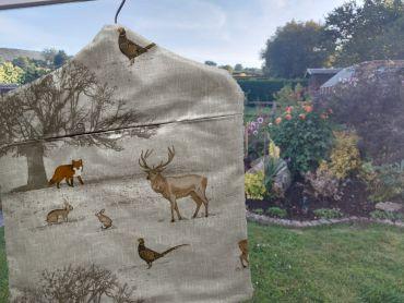 Beige Woodland Animals Wipe Clean Oilcloth Peg Bag