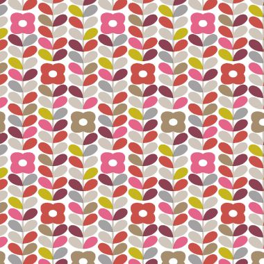 Linear Floral Stem Pink, Red and Grey Wipe Clean PVC Vinyl Tablecloth