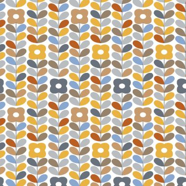 Linear Floral Stem Grey, Mustard and Blue Wipe Clean PVC Vinyl Tablecloth