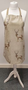 Beige Natural Highland Stags Oilcloth Wipe Clean Apron-Adult and Child Sizes