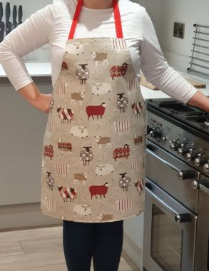 Beige Natural Funky Sheep Oilcloth Adult or Child Oilcloth Wipe Clean Apron