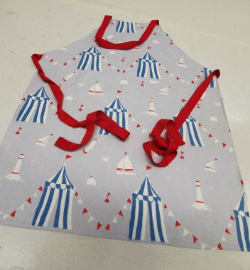 Limited Edition-Sky Blue and Red Nautical Boats and Sandcastles Oilcloth Adult and Child Wipe Clean Apron