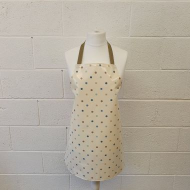 Taupe Duck Egg Blue Polka Dot Oilcloth Wipe Clean Apron-Adult and Child Sizes