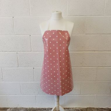 Dotty Rose Pink Oilcloth Wipe Clean Apron-Adult and Child Sizes