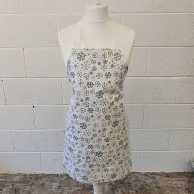 Cream and Silver Snowflakes Adult Oilcloth Wipe Clean Apron