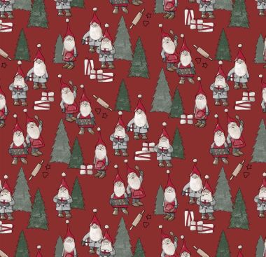 Red Elves and Christmas Trees PVC Vinyl Wipe Clean Tablecloth