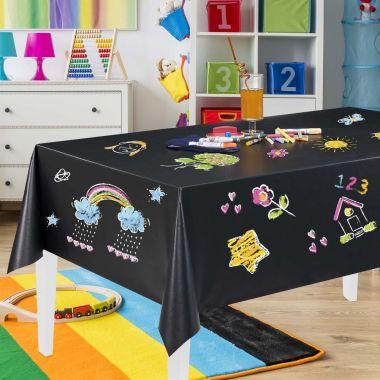 Black Chalkboard PVC Vinyl Wipe Clean Tablecloth