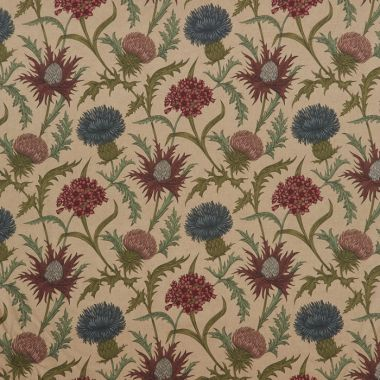 Acanthium Foxglove Floral 100% Cotton Curtain and Upholstery Fabric
