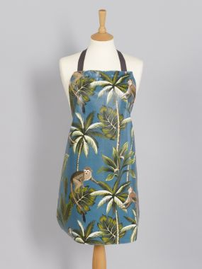 Teal Tropical Monkeys Adult or Child Oilcloth Wipe Clean Apron