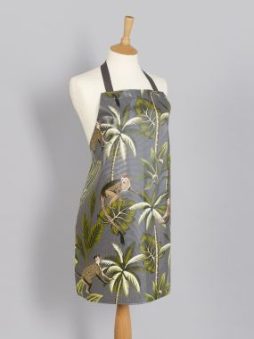Smoke Grey Tropical Monkeys Adult or Child Oilcloth Wipe Clean Apron