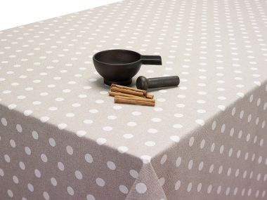 Beige and White Polka Dot Extra Wide 180cm Wide Acrylic Oilcloth Wipe Clean Tablecloth