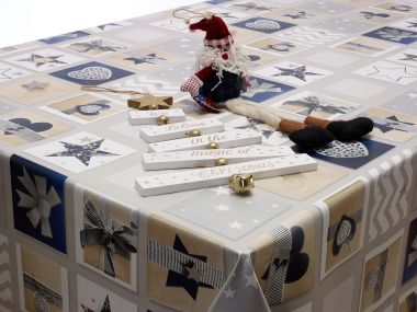 Beige Blue and Grey Xmas Hearts and Stags Christmas PVC Vinyl Wipe Clean Tablecloth