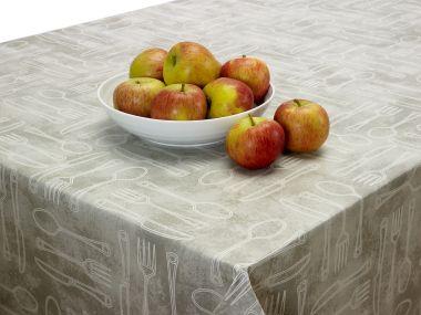 Beige Cutlery PVC Vinyl Wipe Clean Tablecloth