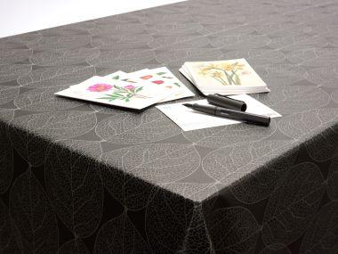 Black and Grey Large Leaf Wipe Clean PVC Vinyl Tablecloth