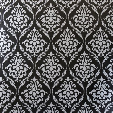 Large Black and Silver Damask PVC Vinyl Wipe Clean Tablecloth