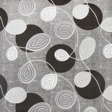 Black White Grey Floral Swirl PVC Tablecloth