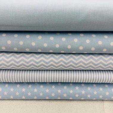 100% Cotton Blue and White- 5 x Half Metre Fabrics-Stars, Spots, Stripes and Chevrons