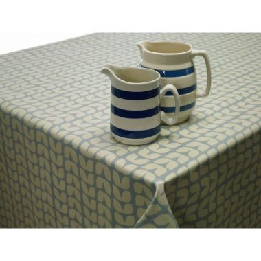 Retro Blue Small Tulips Floral Oilcloth Wipe Clean Tablecloth 132cm x 192cm with Pale Blue Bias Binding