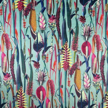 Curtain Velvet Botanic Floral Duck Egg Curtain and Upholstery Fabric
