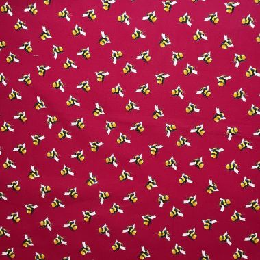 Cerise Pink Bees 100% Cotton Crafting Quilting Fabric