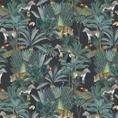 Grey Tropical Jungle Animals 100% Cotton Fabric for Crafting and Quilting