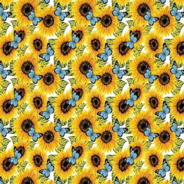 Sunflowers and Butterflies Cotton Fabric