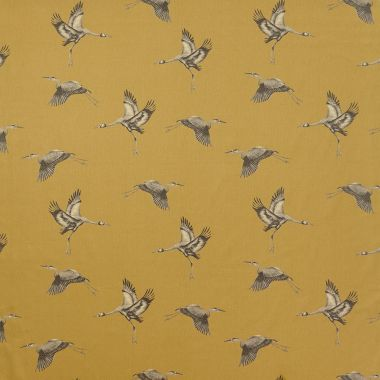 Ochre/Mustard and Grey Cranes Nautical 100% Cotton Curtain and Upholstery Fabric