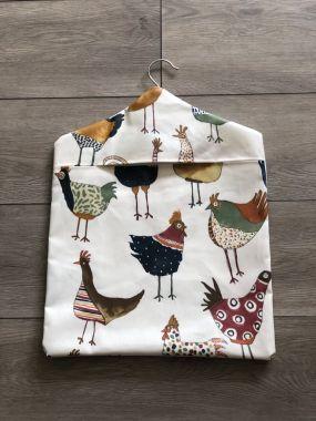 Cream Multi Harriet Hens/Chickens Wipe Clean Oilcloth Peg Bag