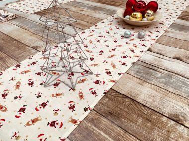 Cream Snowmen, Santa and Reindeer Christmas Cotton Fabric Table Runner