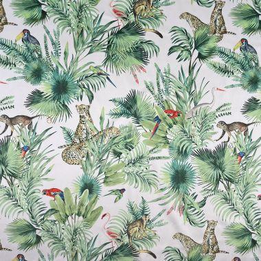 Curtain Velvet Natural Green Natural Cheetah Monkeys Parrots Amazon Botanic Floral Curtain and Upholstery Fabric