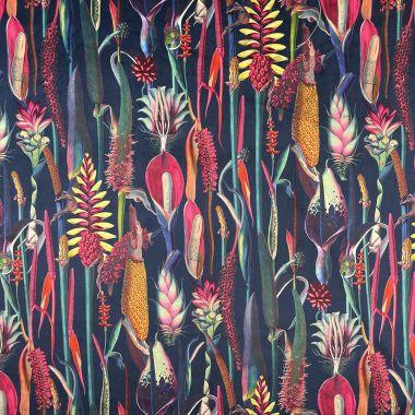 Curtain Velvet Botanic Floral Navy Blue Curtain and Upholstery Fabric