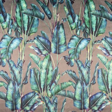 Curtain Velvet Grey and Duck Egg Tropical Leaves Floral Curtain and Upholstery Fabric