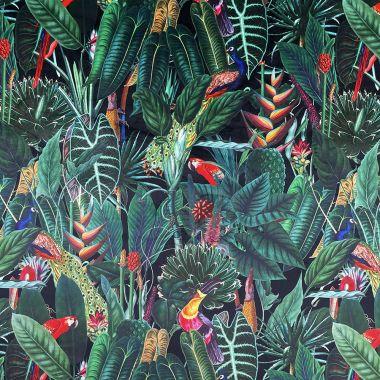 Curtain Velvet Black Green Rainforest Botanic Floral Curtain and Upholstery Fabric
