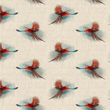 Red Parrots Linen Effect Crafting All Over Curtain Fabric