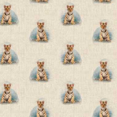 Tiger Cub Linen Effect Crafting All Over Curtain Fabric