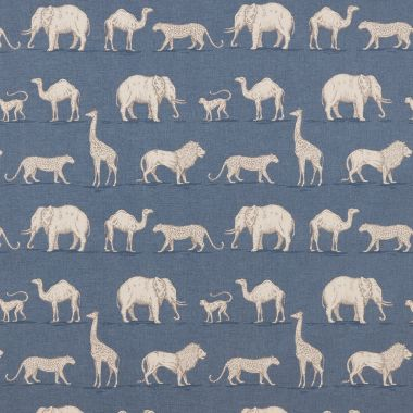 Denim Blue Prairie Safari Animals Matte Finish Wipe Clean Oilcloth Tablecloth