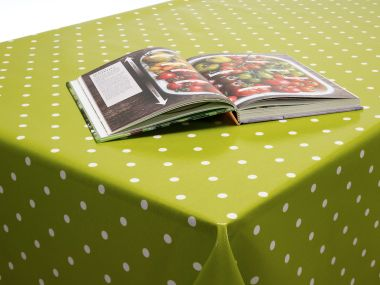 Dotty Lime Green Polka Dot Oilcloth Wipe Clean Tablecloth