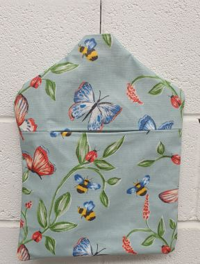 Duck Egg Bees and Butterflies Wipe Clean Oilcloth Peg Bag