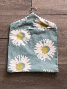 Duck Egg Capri Daisy Wipe Clean Oilcloth Peg Bag