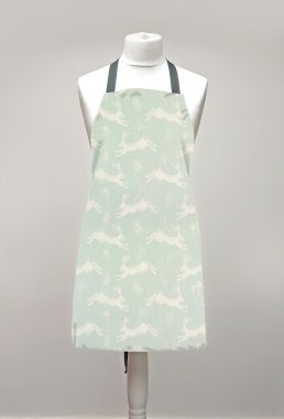 Duck Egg Leaping Hares Adult or Child Oilcloth Wipe Clean Apron Matte Finish