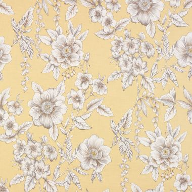 Ochre Yellow Traditional Floral PVC Vinyl Wipe Clean Tablecloth