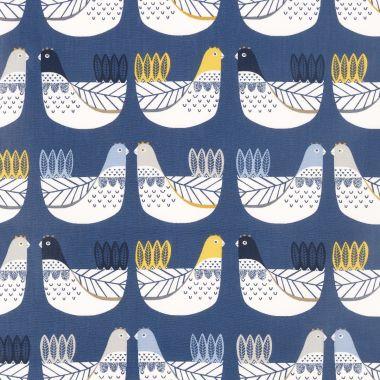 Yellow Scandinavian Birds Oilcloth
