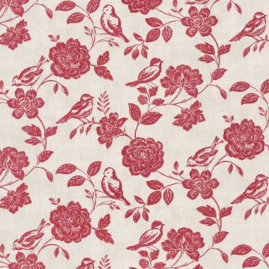 Cream and Red Bird Garden Floral Oilcloth Wipe Clean Tablecloth